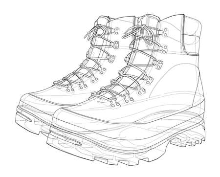 Mens boot concept. Vector rendering of 3d. Wire-frame style. The layers of visible and invisible lines are separated