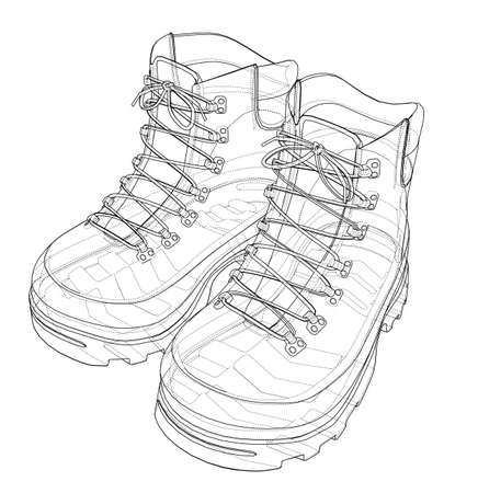 Mens boot concept. Vector rendering of 3d. Wire-frame style. The layers of visible and invisible lines are separated Vetores