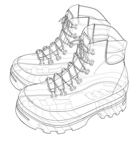 Mens boot concept. Vector rendering of 3d. Wire-frame style. The layers of visible and invisible lines are separated Ilustração
