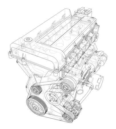 Schizzo del motore. Rendering vettoriale di 3d. Stile wireframe. Gli strati di linee visibili e invisibili sono separati Vettoriali