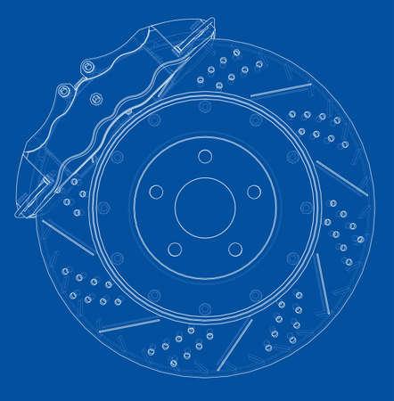 Brake disc outline. Vector rendering of 3d Ilustração Vetorial