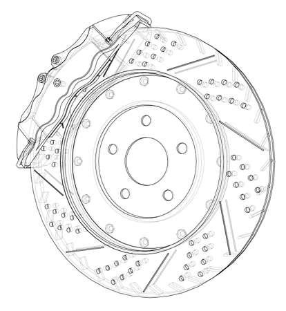 Contour du disque de frein. Rendu vectoriel de 3d. Style fil de fer. Les couches de lignes visibles et invisibles sont séparées