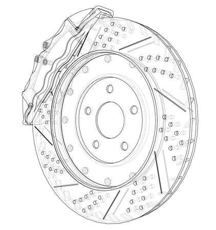 Brake disc outline. Vector rendering of 3d. Wire-frame style. The layers of visible and invisible lines are separated
