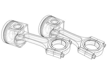 Sketch of piston. Vector rendering of 3d. Wire-frame style. The layers of visible and invisible lines are separated
