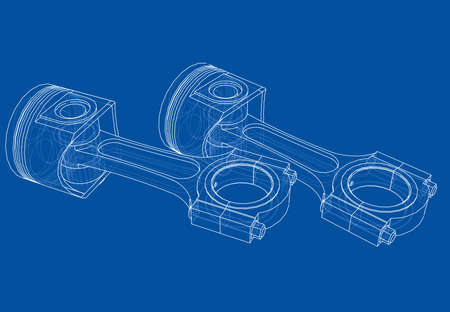 Sketch of piston. Vector rendering of 3d. Wire-frame style. The layers of visible and invisible lines are separated Vector Illustration