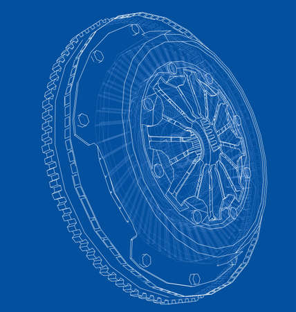 Sketch of clutch basket for the car. Vector rendering of 3d. Wire-frame style. The layers of visible and invisible lines are separated Illustration