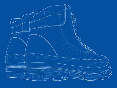 Mens boot concept. Vector rendering of 3d. Wire-frame style. The layers of visible and invisible lines are separated  イラスト・ベクター素材