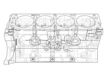 Schizzo del blocco motore. Rendering vettoriale di 3d. Stile wireframe. Gli strati di linee visibili e invisibili sono separati
