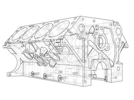 Croquis du bloc moteur. Rendu vectoriel de 3d. Style fil de fer. Les couches de lignes visibles et invisibles sont séparées