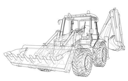 Sketch of Loading Shovel with Back Actor. Vector rendering of 3d. Wire-frame style. The layers of visible and invisible lines are separated