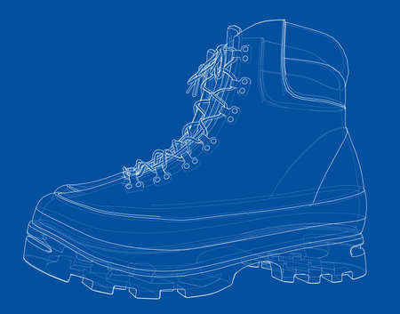 Mens boot concept. Vector rendering of 3d. Wire-frame style. The layers of visible and invisible lines are separated Ilustrace