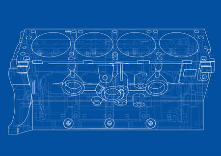Engine block sketch. Vector rendering of 3d. Wire-frame style. The layers of visible and invisible lines are separated