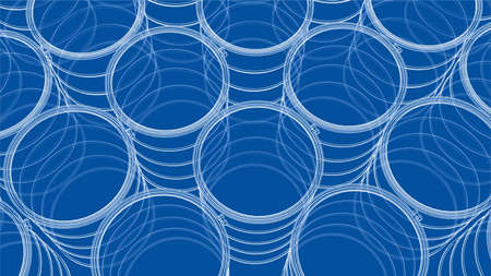 Group of oil barrels. Vector rendering of 3d