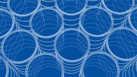 Group of oil barrels. Vector rendering of 3d