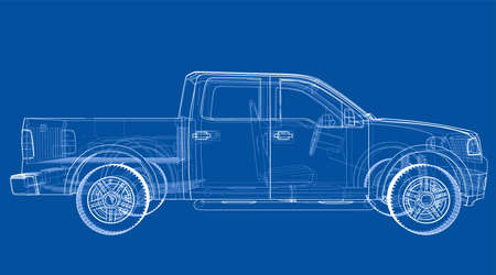 Vector car silhouettes. Vector rendering of 3d. Wire-frame style. The layers of visible and invisible lines are separated