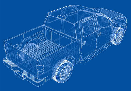 Vector car silhouettes. Vector rendering of 3d. Wire-frame style. The layers of visible and invisible lines are separated Vektorové ilustrace