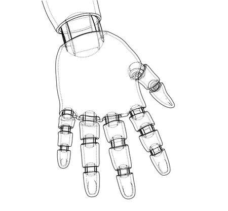 Esquema de la mano del robot. Representación vectorial de 3d. Estilo de marco de alambre. Las capas de líneas visibles e invisibles están separadas.