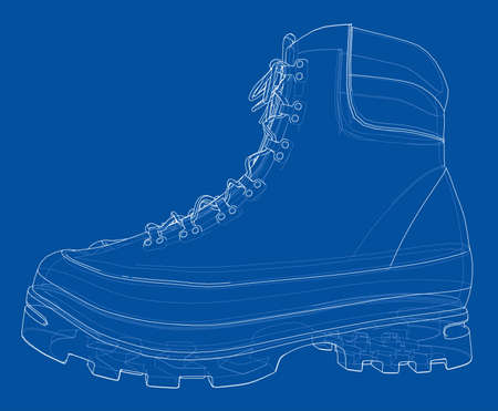 Mens boot concept. Vector rendering of 3d. Wire-frame style. The layers of visible and invisible lines are separated Illustration