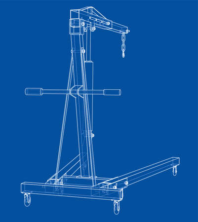 Engine hoist outline. Vector rendering of 3d. Wire-frame style. The layers of visible and invisible lines are separated Çizim