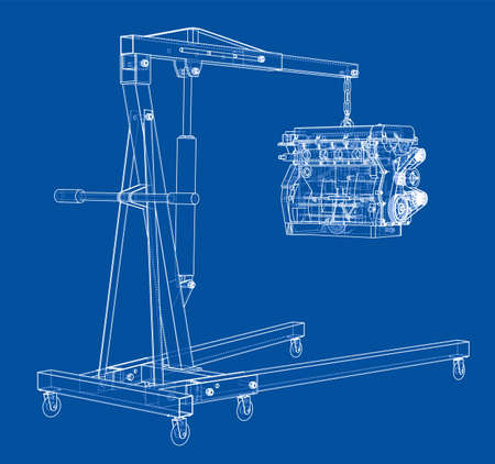 Engine hoist with engine outline. Vector rendering of 3d. Wire-frame style. The layers of visible and invisible lines are separated Çizim