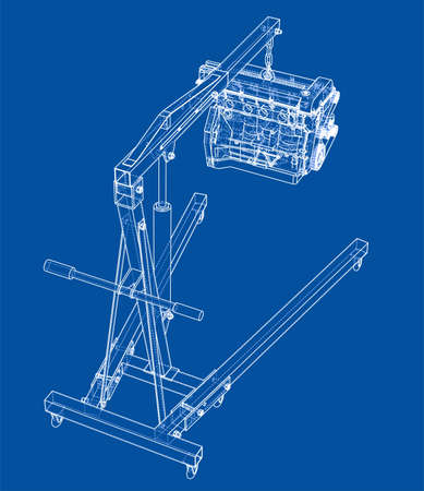 Engine hoist with engine outline. Vector rendering of 3d. Wire-frame style. The layers of visible and invisible lines are separated  イラスト・ベクター素材