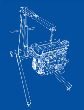 Engine hoist with engine outline. Vector rendering of 3d. Wire-frame style. The layers of visible and invisible lines are separated