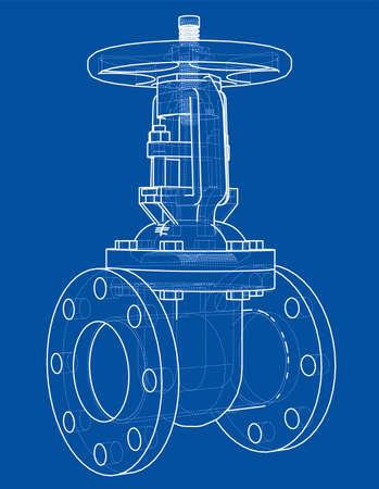 Industrial valve outline. Vector rendering of 3d. Wire-frame style. The layers of visible and invisible lines are separated