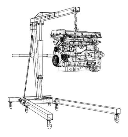 Engine hoist with engine outline. Vector rendering of 3d. Wire-frame style. The layers of visible and invisible lines are separated Ilustrace