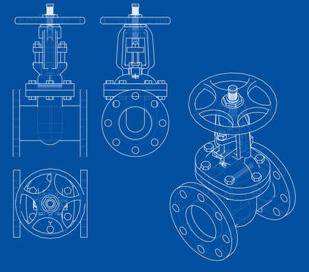 Industrial valve outline. Vector rendering of 3d. Wire-frame style. The layers of visible and invisible lines are separated  イラスト・ベクター素材