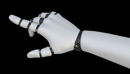 Robot hand pointing index finger, isolated