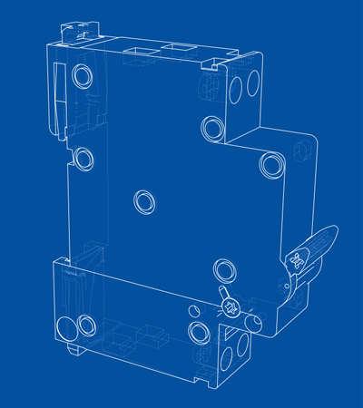 Automatisch stroomonderbrekerconcept. Vector