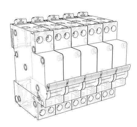 Automatic circuit breaker concept. Vector rendering of 3d. Wire-frame style. The layers of visible and invisible lines are separated