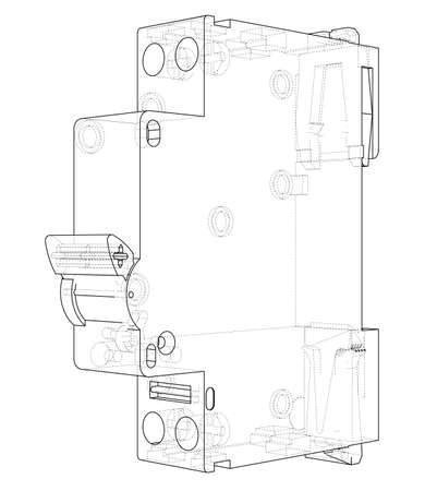 Automatic circuit breaker concept. Vector rendering of 3d. Wire-frame style. The layers of visible and invisible lines are separated 写真素材 - 118726235
