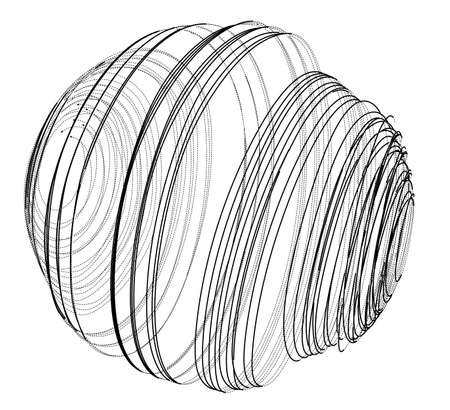 Sphere of spirals outline. Vector rendering of 3d. Wire-frame style. The layers of visible and invisible lines are separated