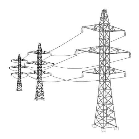Concept de pylônes électriques ou de tours électriques. Rendu vectoriel de 3d. Style fil de fer. Les couches de lignes visibles et invisibles sont séparées
