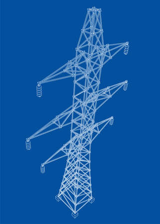 Electric pylon or electric tower concept. Vector rendering of 3d. Wire-frame style. The layers of visible and invisible lines are separated Vettoriali