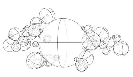 Abstract outline spheres concept. Vector rendering of 3d. Wire-frame style. The layers of visible and invisible lines are separated Ilustração