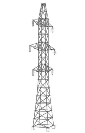 Electric pylon or electric tower concept. Vector rendering of 3d. Wire-frame style. The layers of visible and invisible lines are separated 写真素材 - 119061299