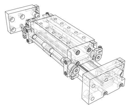 Concept abstrait d'objet de l'industrie. Rendu vectoriel de 3d. Style fil de fer. Les couches de lignes visibles et invisibles sont séparées Vecteurs