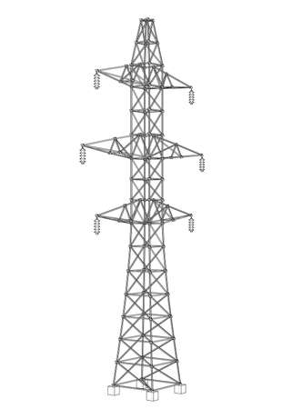 Electric pylon or electric tower concept. Vector rendering of 3d. Wire-frame style. The layers of visible and invisible lines are separated Illustration