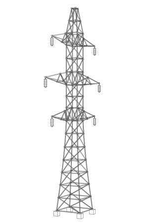 Electric pylon or electric tower concept. Vector rendering of 3d. Wire-frame style. The layers of visible and invisible lines are separated 向量圖像
