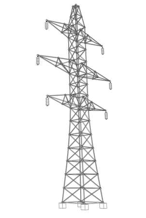 Electric pylon or electric tower concept. Vector rendering of 3d. Wire-frame style. The layers of visible and invisible lines are separated