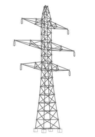 Elektromast- oder Elektroturmkonzept. Vektor-Rendering von 3d. Drahtrahmen-Stil. Die Schichten der sichtbaren und unsichtbaren Linien sind getrennt