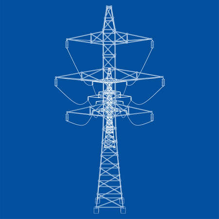 Electric pylons or electric towers concept. Vector rendering of 3d. Wire-frame style. The layers of visible and invisible lines are separated Illustration