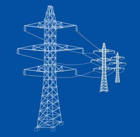 Electric pylons or electric towers concept. Vector rendering of 3d. Wire-frame style. The layers of visible and invisible lines are separated