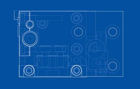 Abstraktes Industrieobjektkonzept. Vektor-Rendering von 3d. Drahtrahmen-Stil. Die Schichten der sichtbaren und unsichtbaren Linien sind getrennt