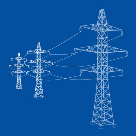 Electric pylons or electric towers concept. Vector rendering of 3d. Wire-frame style. The layers of visible and invisible lines are separated Vettoriali