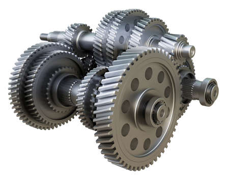 Gearbox concept. Metal gears, shafts and bearings