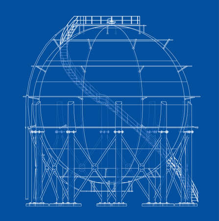 Spherical gas tank outline. Vector rendering of 3d. Wire-frame style. The layers of visible and invisible lines are separated Vektoros illusztráció