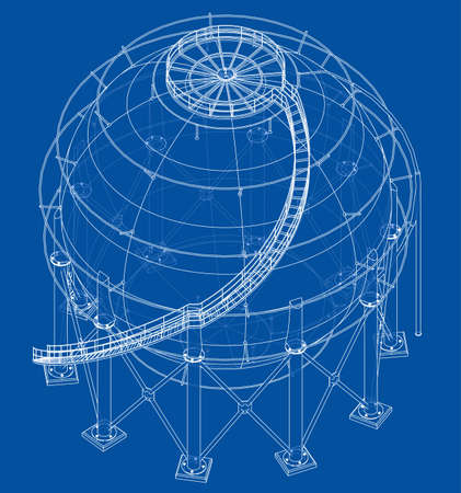 Spherical gas tank outline. Vector rendering of 3d. Wire-frame style. The layers of visible and invisible lines are separated